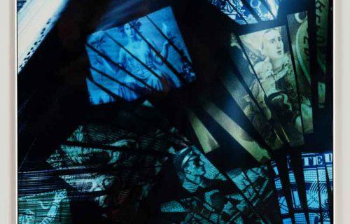 Framed color photogram titled: A Single Spark