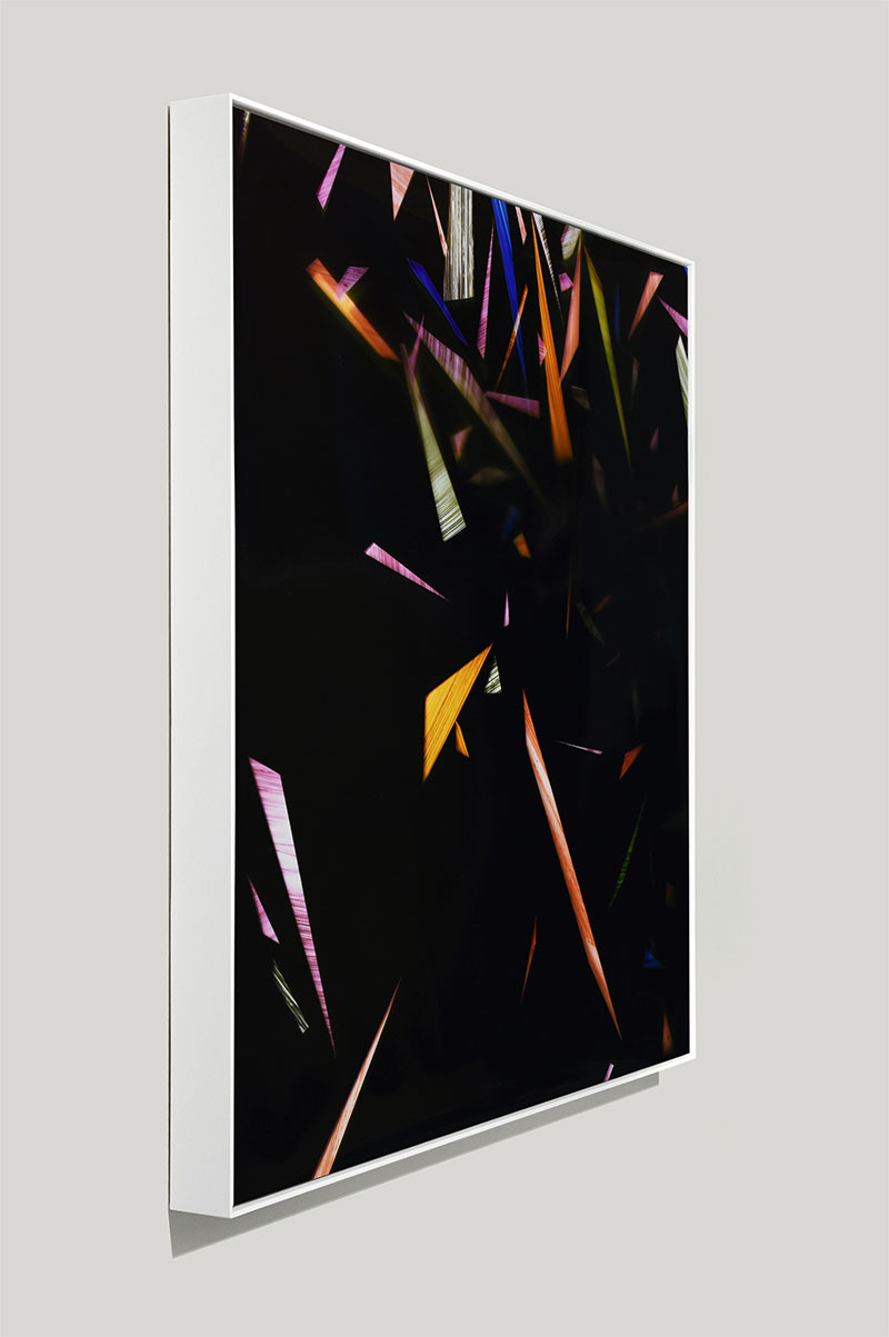 side view of framed color photogram titled: Acquiescent Convention from the series Precariously Bright