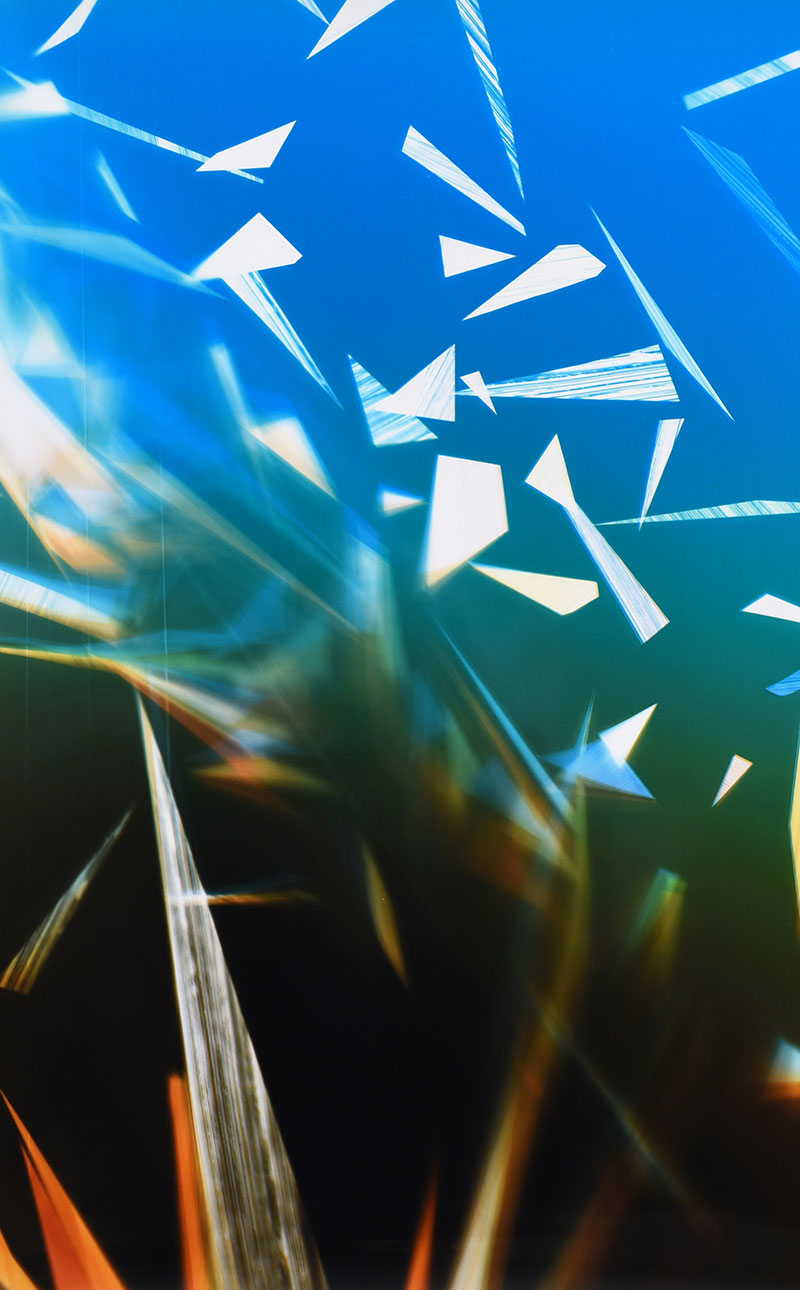 close-up detail of color photogram titled: Airless-Weight from the series Precariously Bright