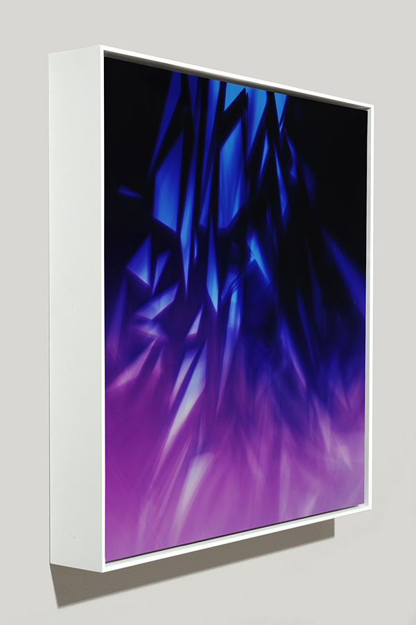 Framed art side view of abstract color photogram titled: Clandestine Inertia from the Cascades Series