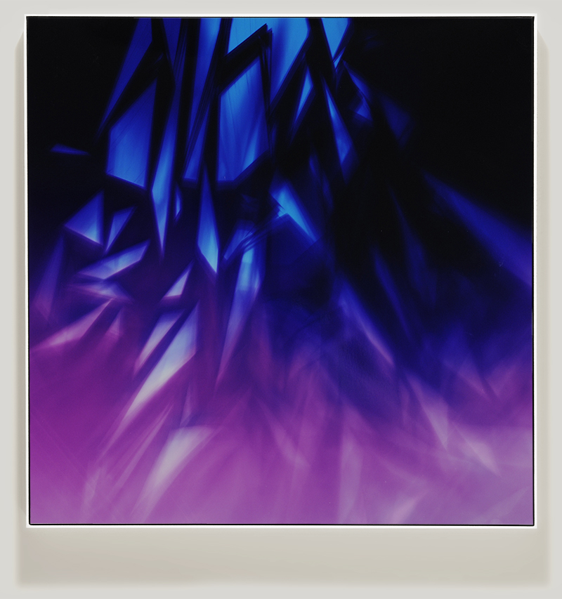 Framed color photogram titled, Clandestine Inertia using analog photography