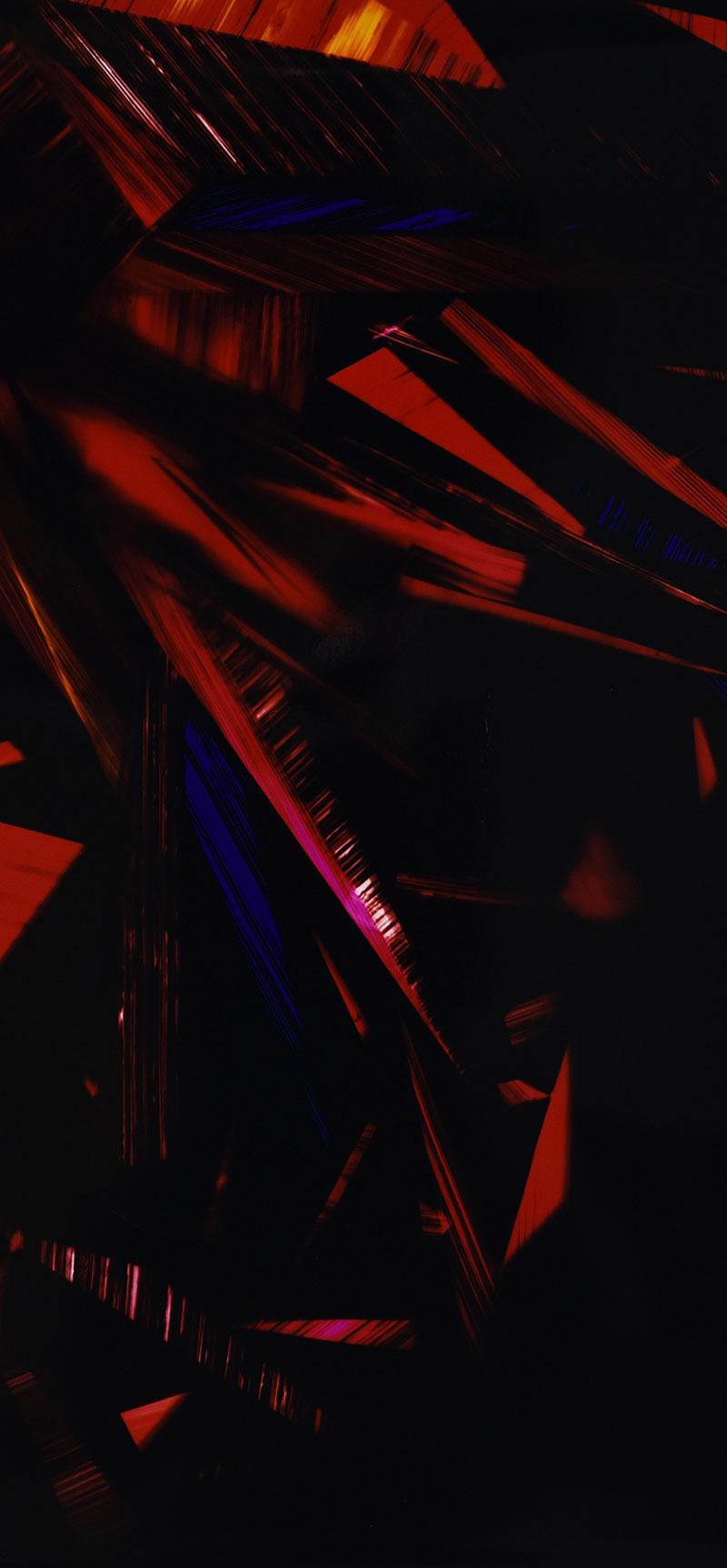Close up detail of color photogram titled: Crimson Belligerence