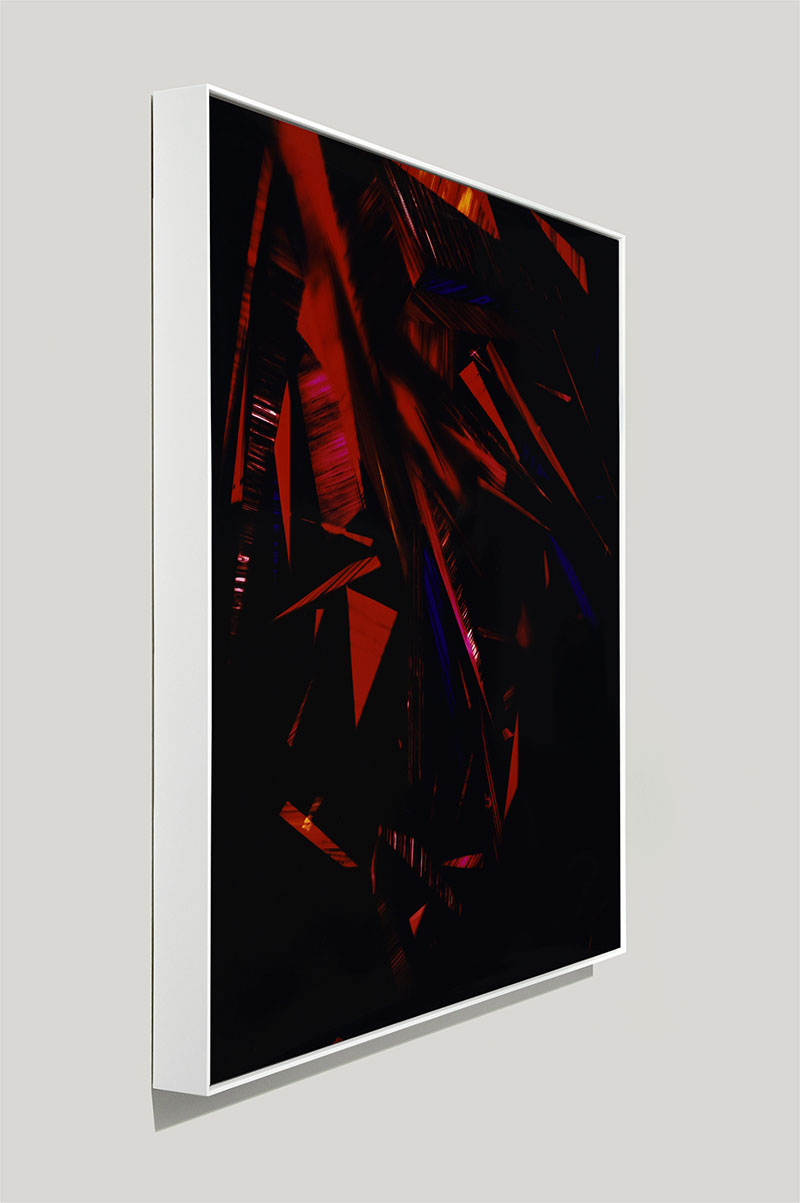 side view of color photogram titled: Crimson Belligerence