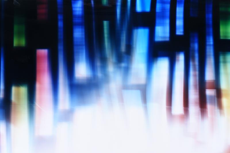 Detail of Color Photogram, titled Decoupling Emissions by light artist Richard Slechta