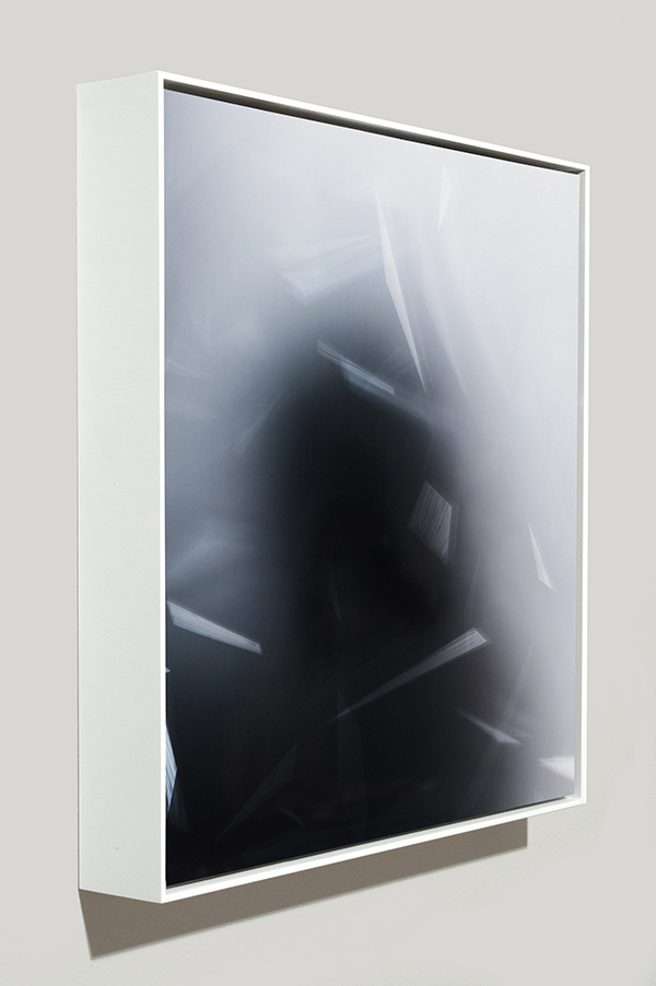 Framed art side view of abstract color photogram titled: Dispersion-Tolerant from the Cascades Series