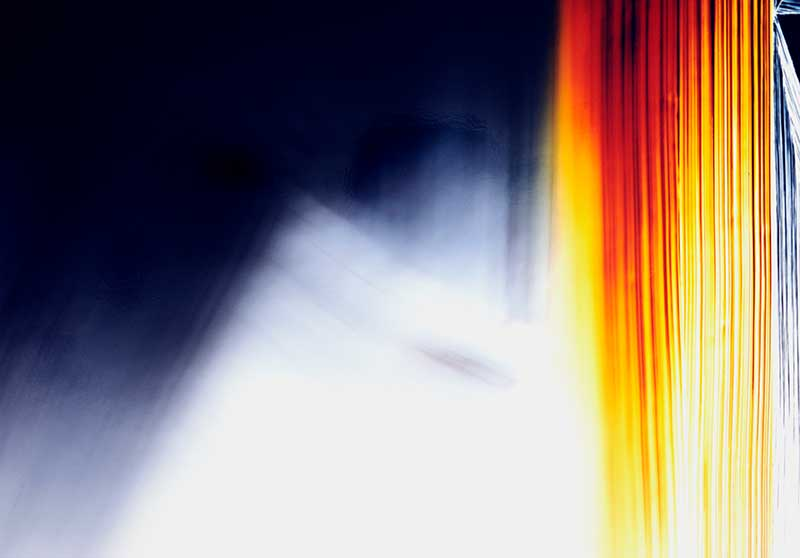 close up detail of color photogram titled; Disrupted Polarization