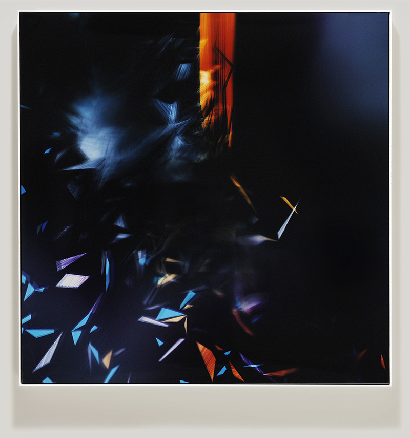 Framed color photogram titled, Elasticity-Demand using analog photography
