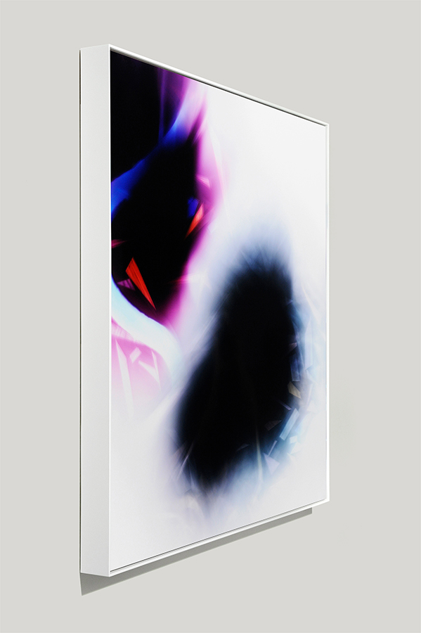 Framed art side view of abstract color photogram titled: Equivocal Intersection from the Cascades Series