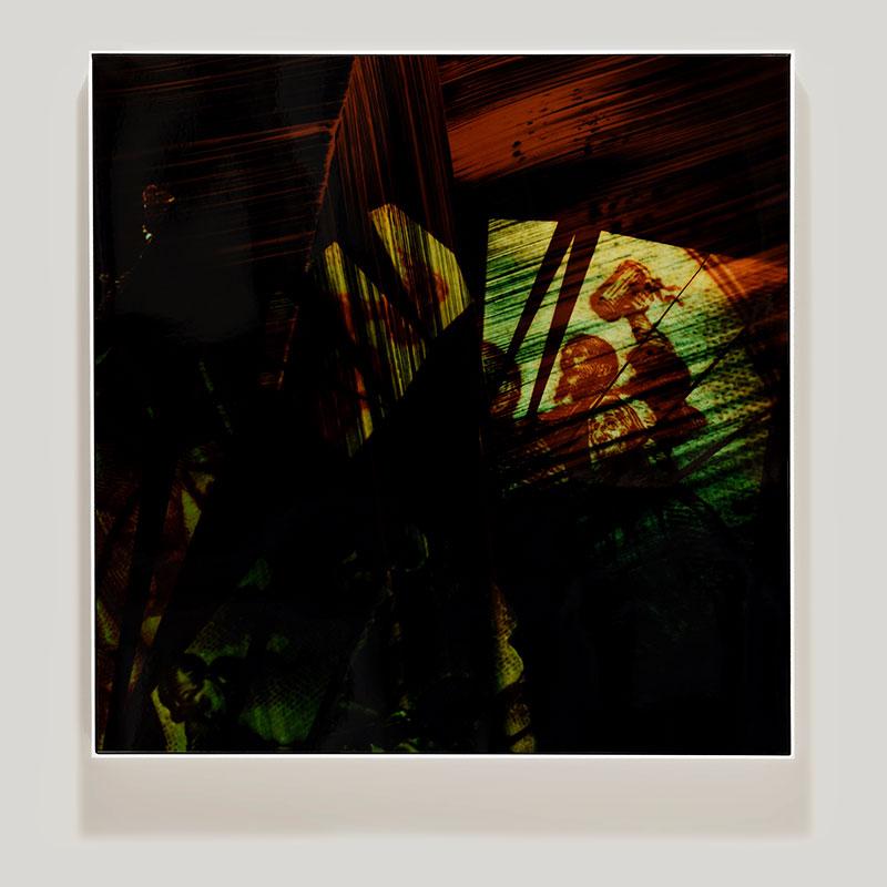 Framed color photogram titled: Fond of Stories