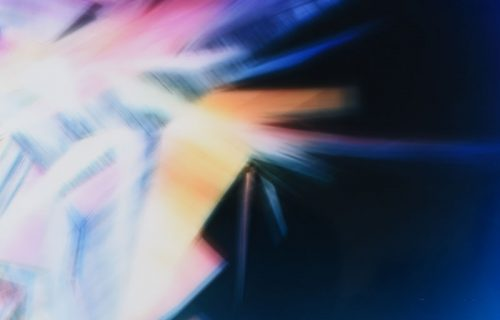 Close up view of color photogram titled: Garden Variety Singularity