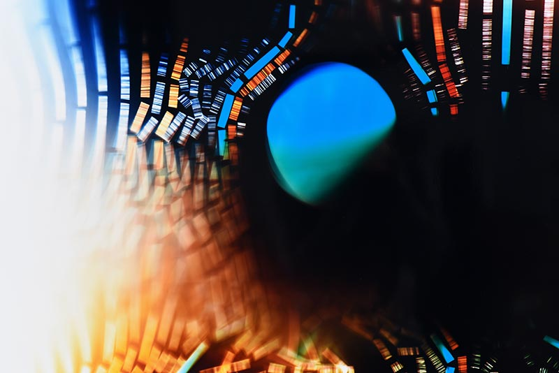 color Photogram, detail image, titled Gradient Advantage by lighting artist Richard Slechta
