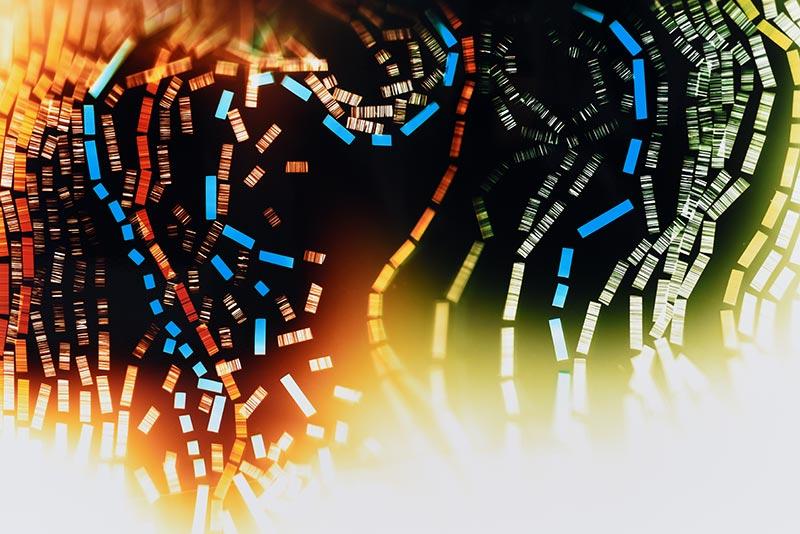 color Photogram, detail image, titled Gradient Advantage by lighting artist Richard Slechta