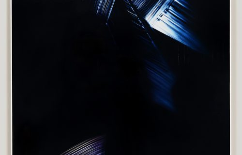 Framed color photogram titled: Graduated Compression