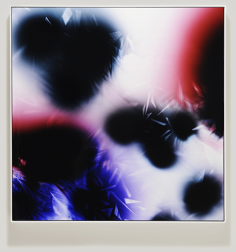 Framed color photogram titled, In-Formation using analog photography