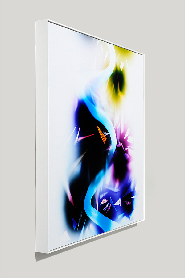 Framed art side view of abstract color photogram titled: Inflection-Point from the Cascades Series