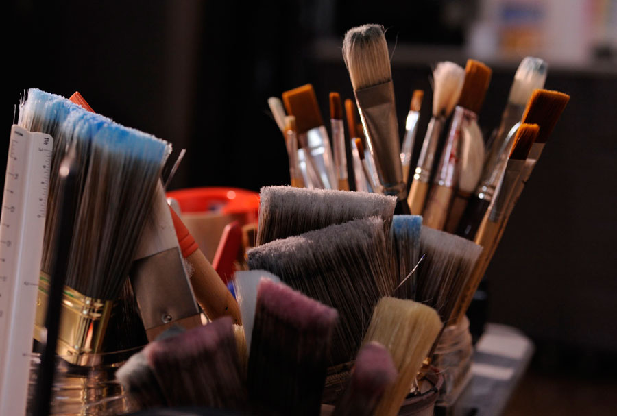 Brushes from the art studio