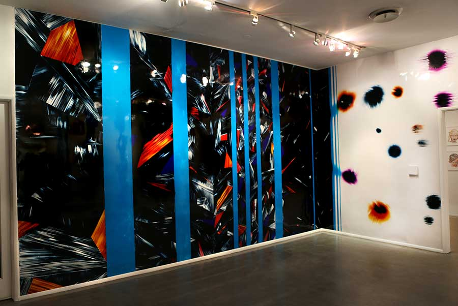 panoramic color photogram installation titled Crosscurrent Junction at Gallery 825 in Los Angeles