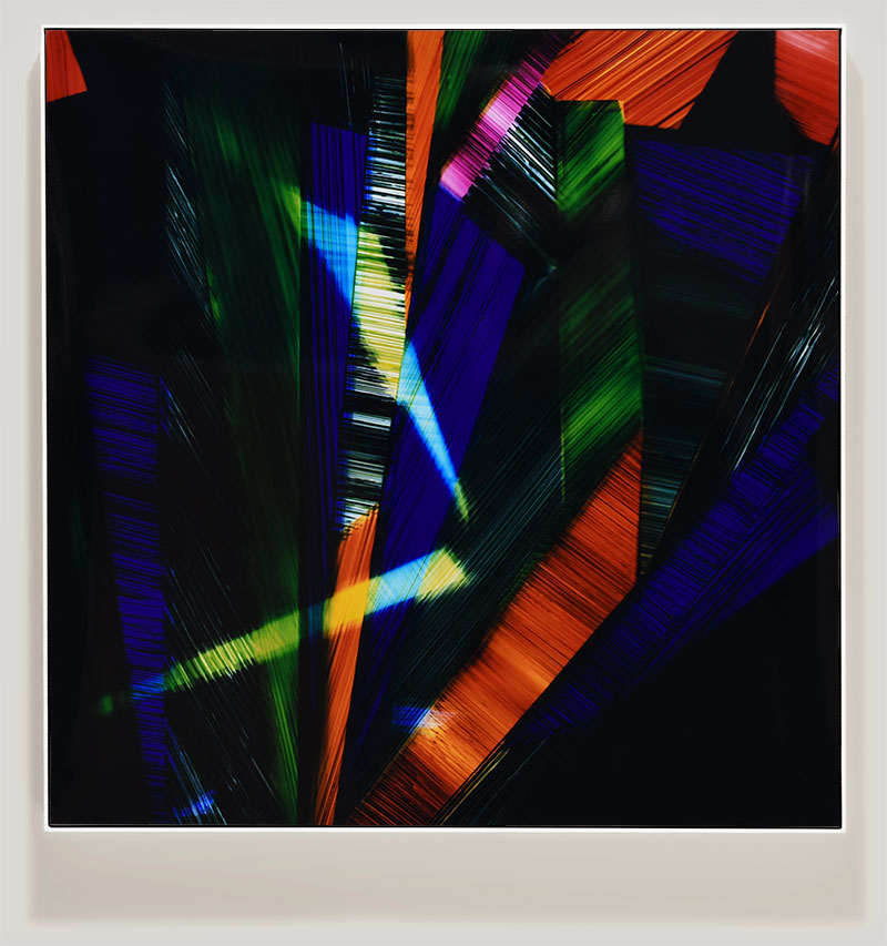 Framed color photogram titled: Labyrinth of Memories