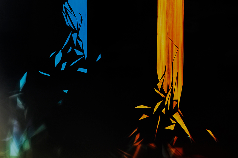 close up detail of color photogram titled: Lyrical Dissonance from the Cascades Series
