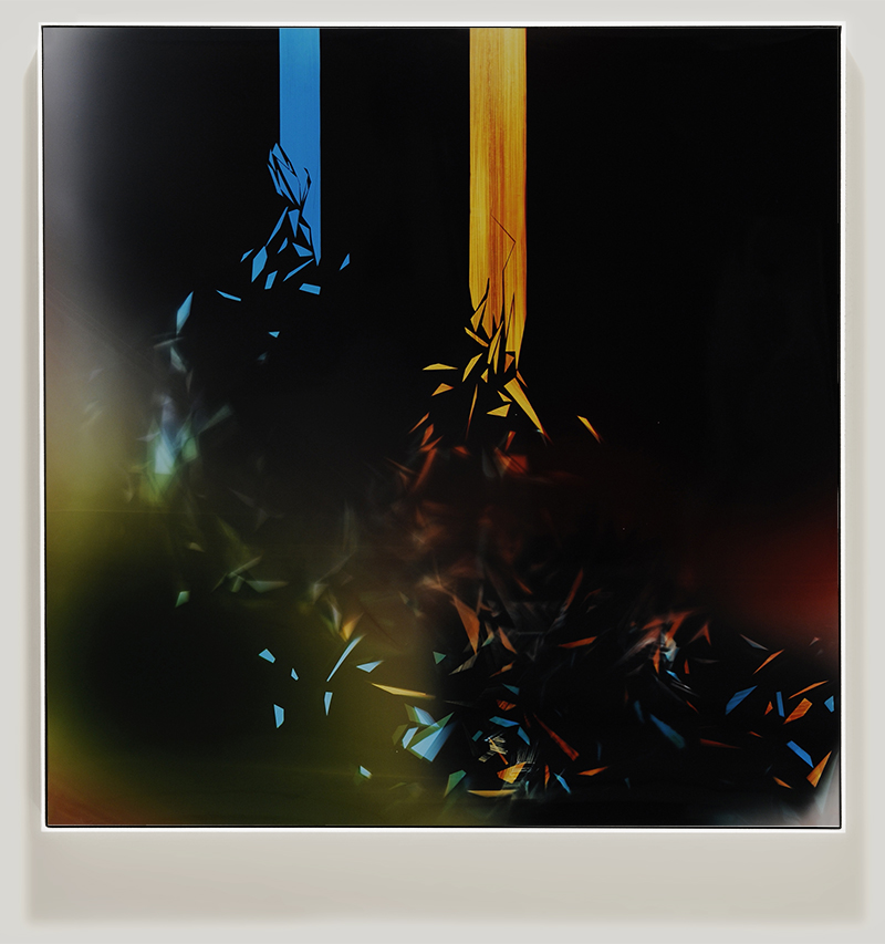 Framed color photogram titled, Lyrical-Dissonance using analog photography