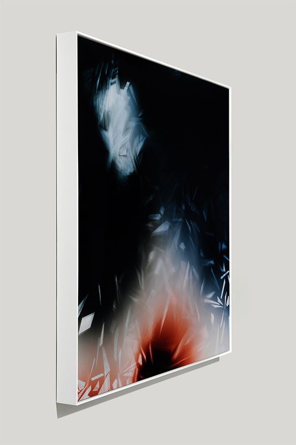 Angle-view of framed color photogram titled: Lyrical Dissonance from the Cascades Series