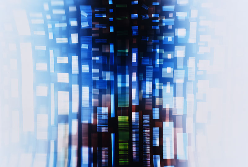 color Photogram detail, titled Nuanced Discontinuity by lighting artist Richard Slechta