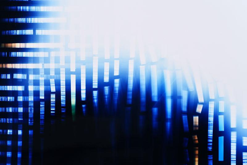 color Photogram detail, titled Peripheral Contingency by lighting artist Richard Slechta