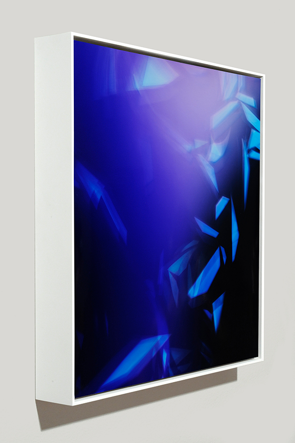 Angle-view of framed color photogram titled: Pleasant Subdivisions from the Cascades Series
