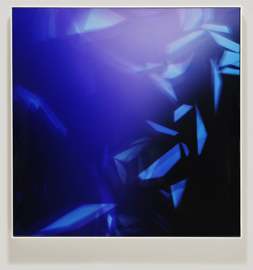 Framed color photogram titled, Pleasant Subdivisions using analog photography
