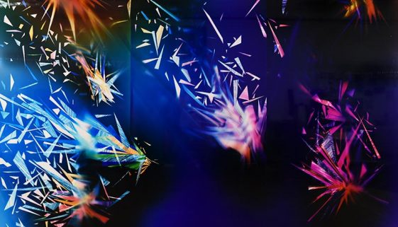 mural-scale color photogram titled, Precariously Bright, 8 feet by 12 feet