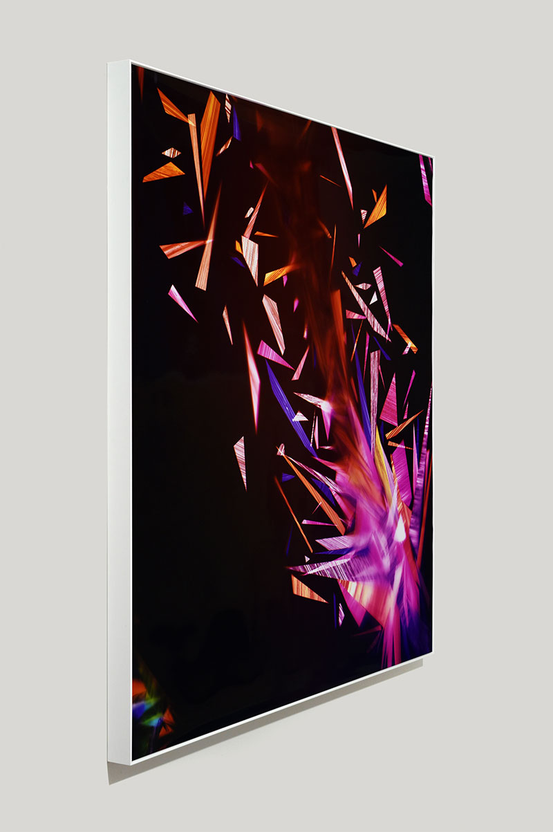 Framed color photogram titled: Primordial Sobriety from the series Precariously Bright
