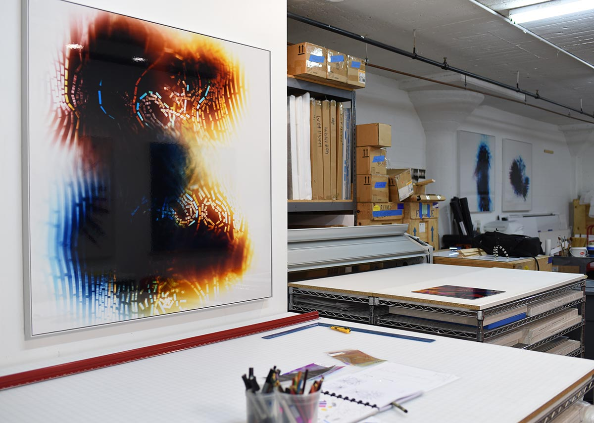 The art studio of Richard Slechta with works from the Incompressible Flow series.