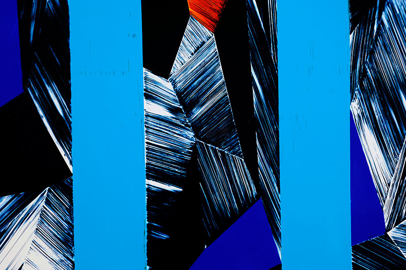 close up detail of color photogram titled; Roused Integration