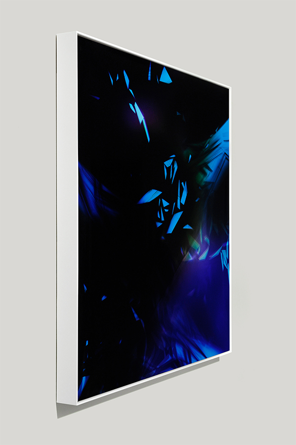 Angle-view of framed color photogram titled: Sheer Amplification from the Cascades Series