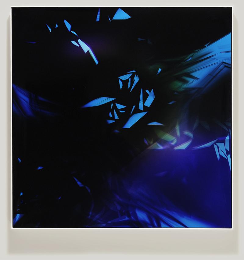 Framed color photogram titled, Sheer-Amplification using analog photography