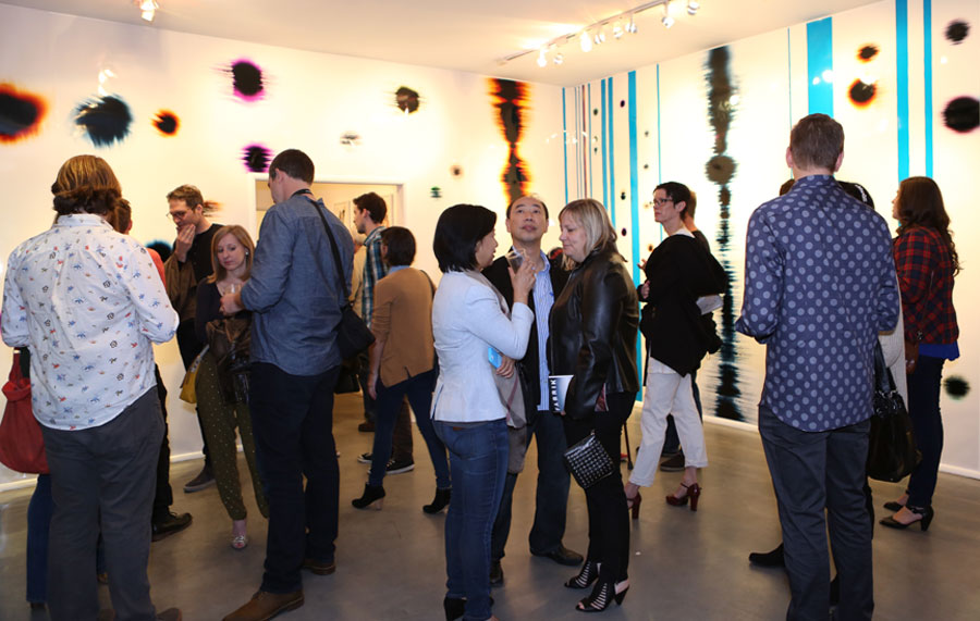 Opening night of 'Crosscurrent Junction, a panoramic photogram installation at Gallery 825 in Los Angeles