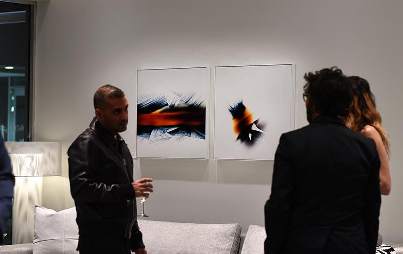 Ligne Roset showroom party in Costa Mesa exhibiting the artwork of Richard Slechta