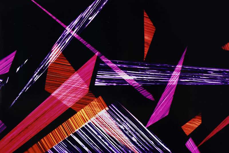 close up detail of color photogram titled: Sticky Trigger Reflex from the series Precariously Bright