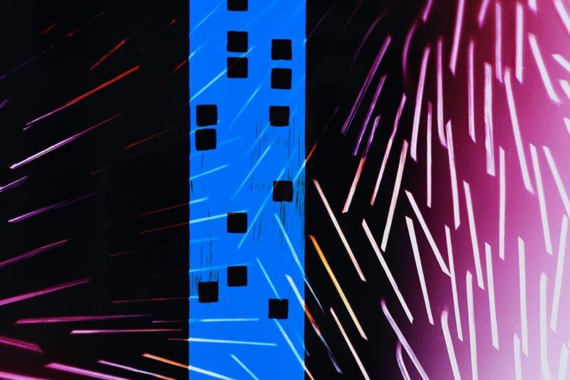 color Photogram detail view, titled Supercritical Fluid by lighting artist Richard Slechta