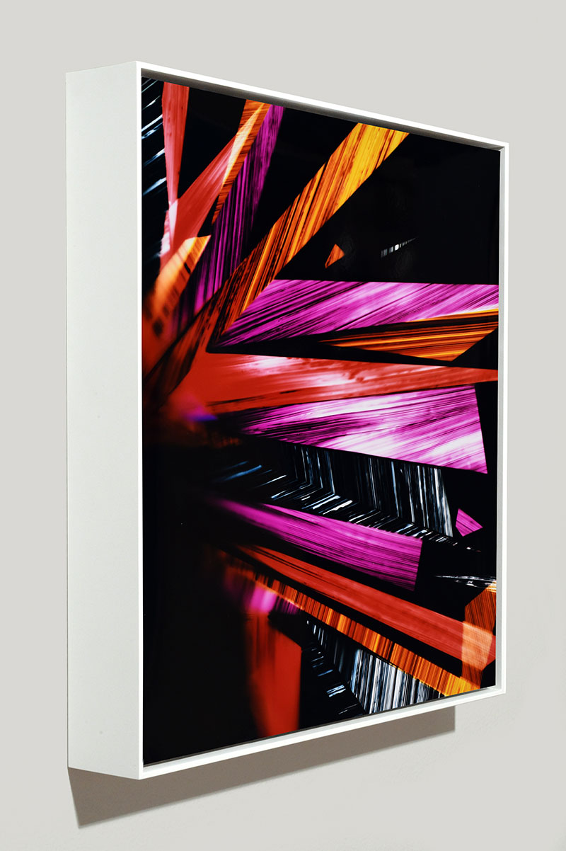 side view of framed color photogram titled: Supreme Delight from the series Precariously Bright