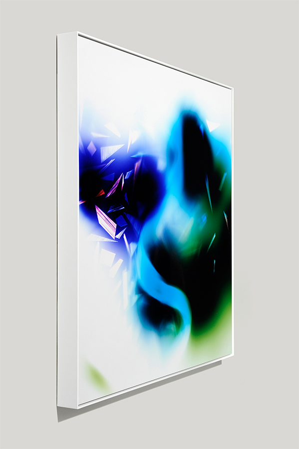 Angle-view of framed color photogram titled: Syntactic Lapse from the Cascades Series