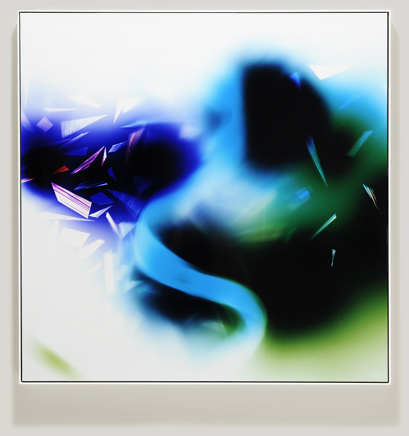 Framed color photogram titled, Syntactic-Lapse using analog photography
