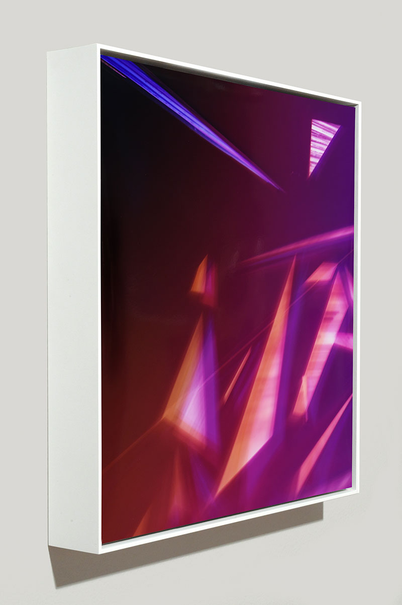 side view of framed color photogram titled: Unspoiled Immaculance from the series Precariously Bright