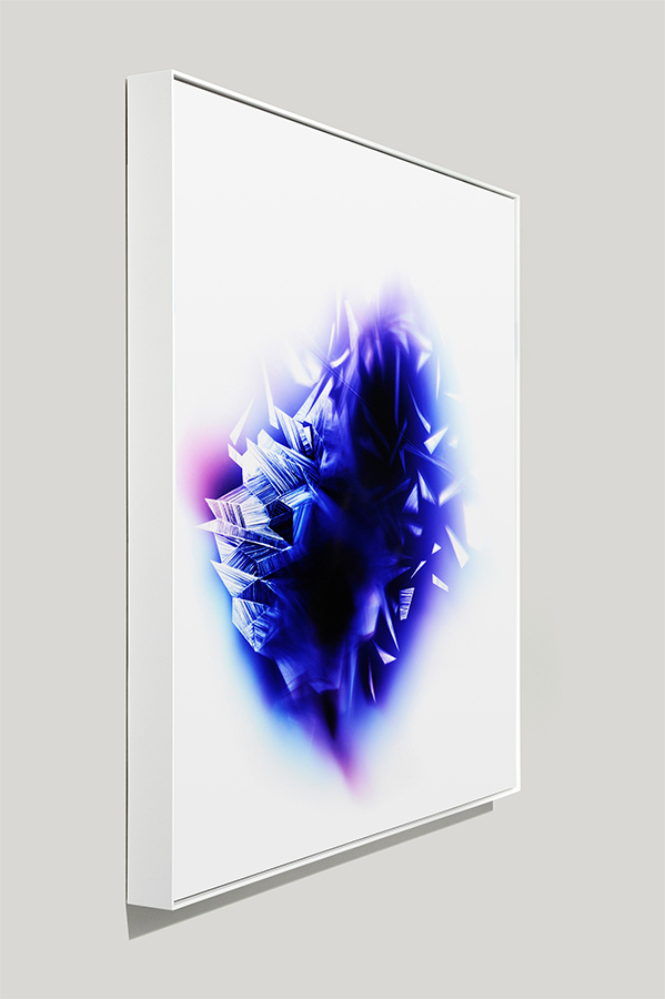 Angle-view of framed color photogram titled: Upon-Each-Other from the Cascades Series