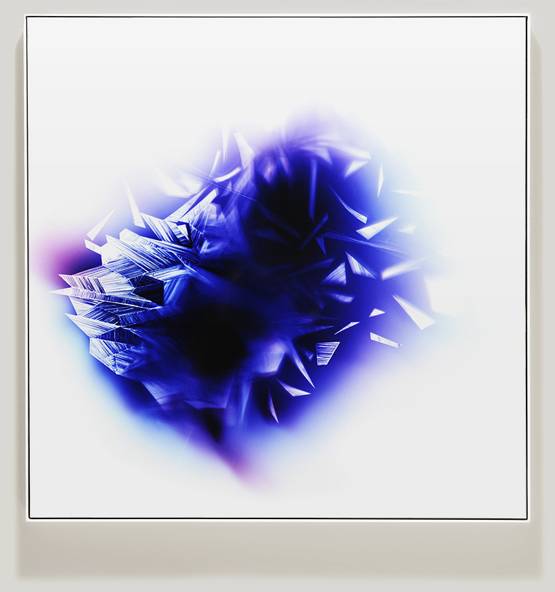 Framed color photogram titled, Upon-Each-Other using analog photography