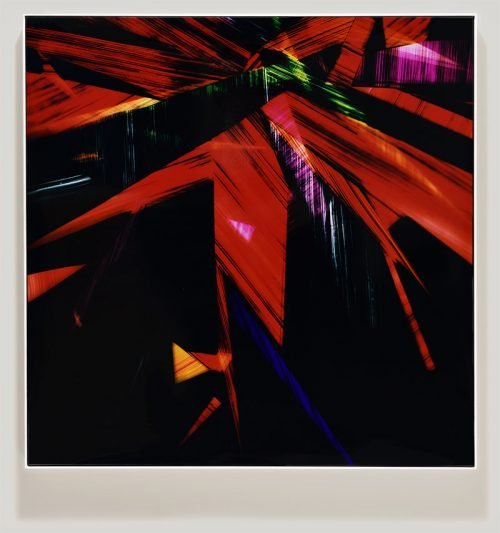 Color photogram titled: Without Dinner from the series Precariously Bright